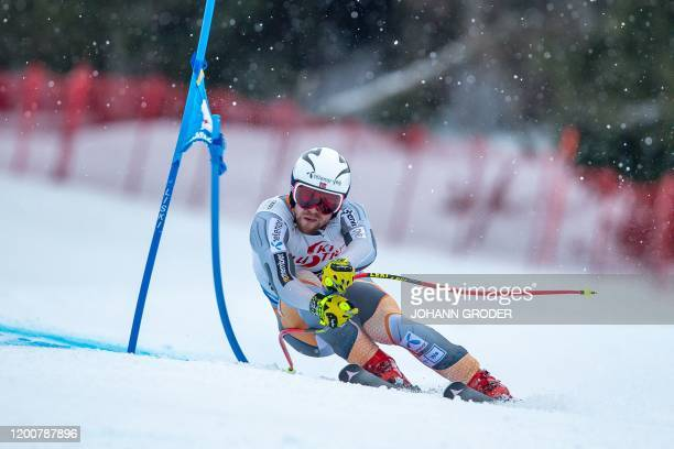 Aleksander Aamodt Kilde of Norway competes to win the men's Super G event of the FIS ski alpine world cup at the Zwoelferkogel in...