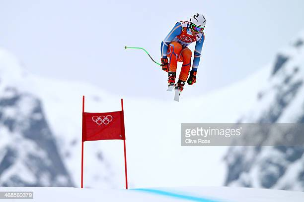 Aleksander Aamodt Kilde of Norway in action during training for the Men's Alpine Skiing on day 4 of the Sochi 2014 Winter Olympics at Rosa Khutor...