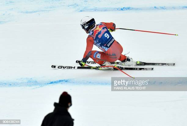 Aleksander Aamodt Kilde of Norway performs during a training session of the FIS Alpine World Cup Men's downhill event in Kitzbuehel Austria on...