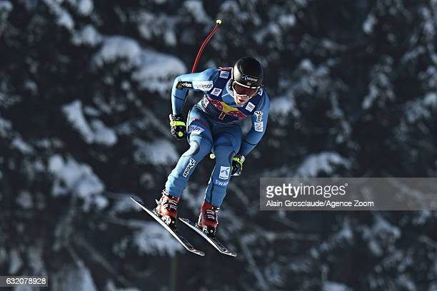 Aleksander Aamodt Kilde of Norway takes 1st place during the Audi FIS Alpine Ski World Cup Men's Downhill Training on January 19 2017 in Kitzbuehel...