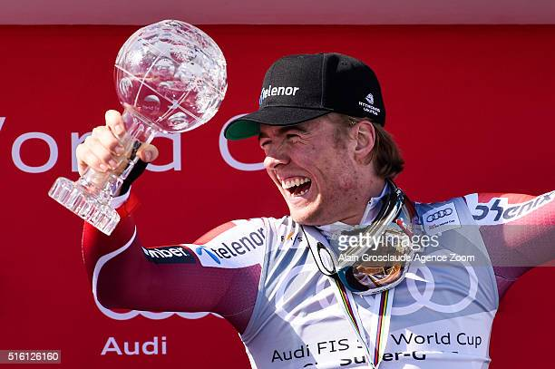 Aleksander Aamodt Kilde of Norway takes joint 2nd place and wins the SuperG crystal globe during the Audi FIS Alpine Ski World Cup Finals Men's and...