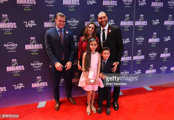 Aleksander Barkov and Roberto Luongo of the Florida Panthers arrive at the 2018 NHL Awards presented by Hulu at the Hard Rock Hotel Casino on June 20...