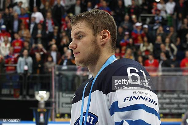 Aleksander Barkov of Finland looks on during the award ceremony after the 2016 IIHF World Championship gold medal game at the Ice Palace on May 22...