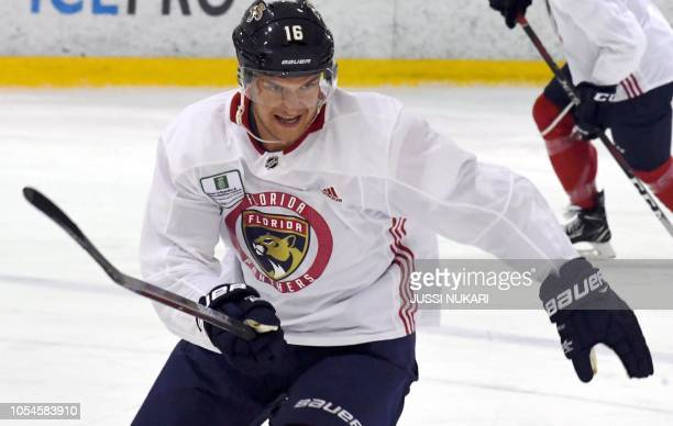 Aleksander Barkov of Florida Panthers is pictured on October 28 2018 in Helsinki Finland ahead of the ice hockey NHL Global Series matches against...
