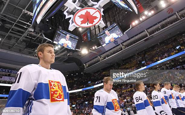 Aleksander Barkov of Team Finland lines up prior to the game against Team Sweden during the World Cup of Hockey 2016 at Air Canada Centre on...