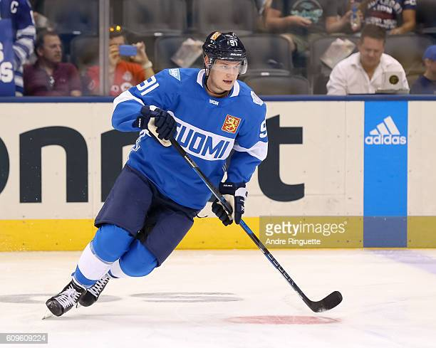 Aleksander Barkov of Team Finland warms up prior to a game against Team North America during the World Cup of Hockey 2016 at Air Canada Centre on...