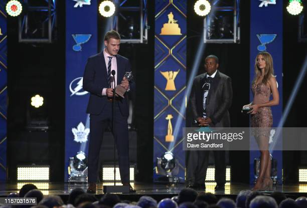Aleksander Barkov of the Florida Panthers accepts the Lady Byng Memorial Trophy awarded to the player who exemplifies the best type of sportsmanship...