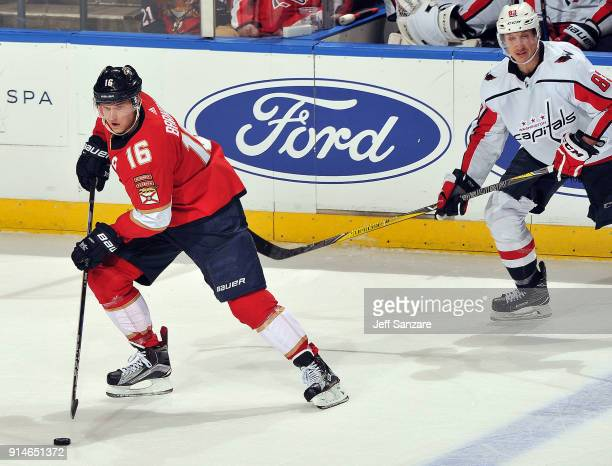 Aleksander Barkov of the Florida Panthers against the Washington Capitals at the BBT Center on January 25 2018 in Sunrise Florida