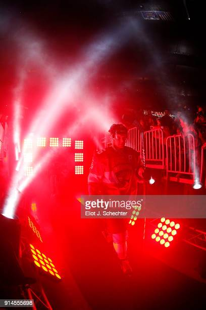 Aleksander Barkov of the Florida Panthers and teammates head out to the ice for introductions prior to the start of their game against the Detroit...