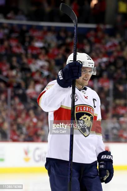 Aleksander Barkov of the Florida Panthers celebrates after the Panthers scored a third period goal against the Washington Capitals at Capital One...