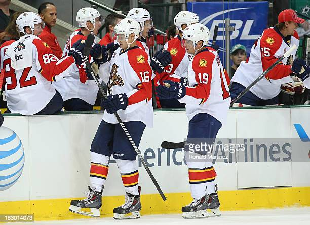 Aleksander Barkov of the Florida Panthers celebrates his goal against the Dallas Stars at American Airlines Center on October 3 2013 in Dallas Texas