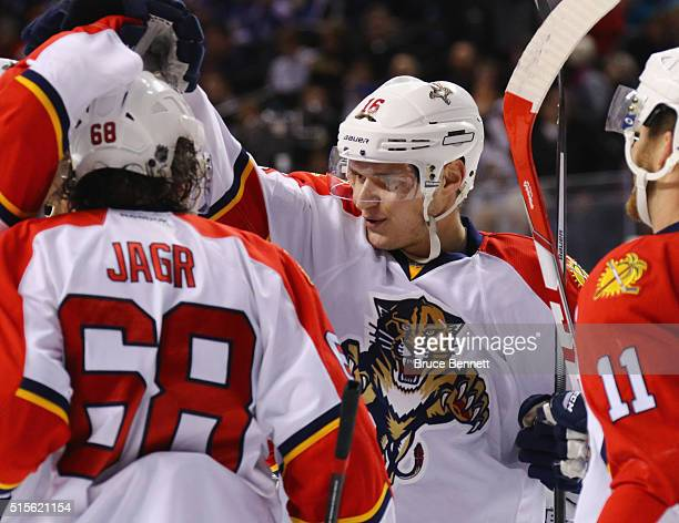 Aleksander Barkov of the Florida Panthers celebrates his goal at 1511 of the first period against the New York Islanders at the Barclays Center on...