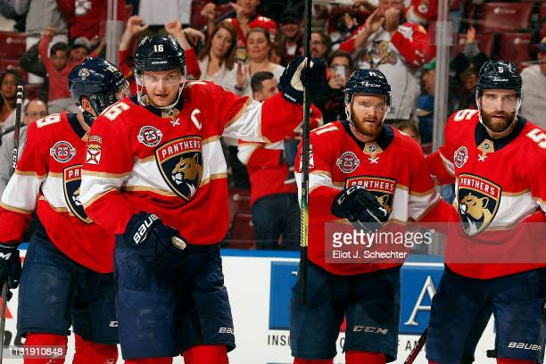 Aleksander Barkov of the Florida Panthers celebrates his goal with teammates during the first period against the Arizona Coyotes at the BBT Center on...