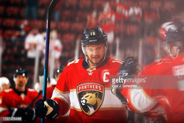 Aleksander Barkov of the Florida Panthers celebrates his goal with teammates during the first period against the Columbus Blue Jackets at the BB&T...