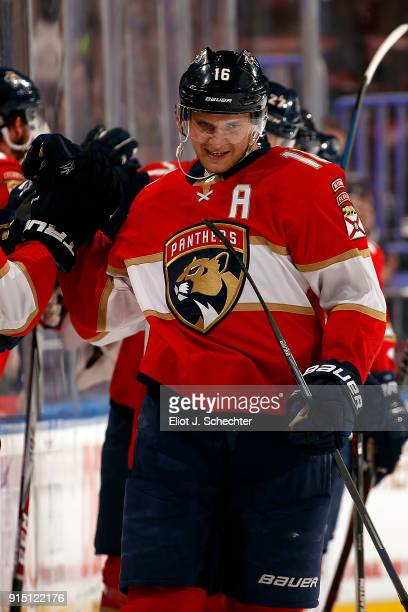 Aleksander Barkov of the Florida Panthers celebrates his goal with teammates during the second period against the Vancouver Canucks at the BBT Center...