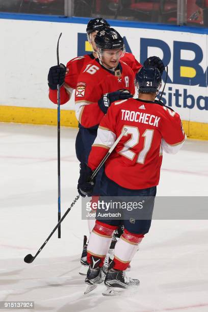 Aleksander Barkov of the Florida Panthers celebrates his opennet goal with Vincent Trocheck against the Vancouver Canucks at the BBT Center on...
