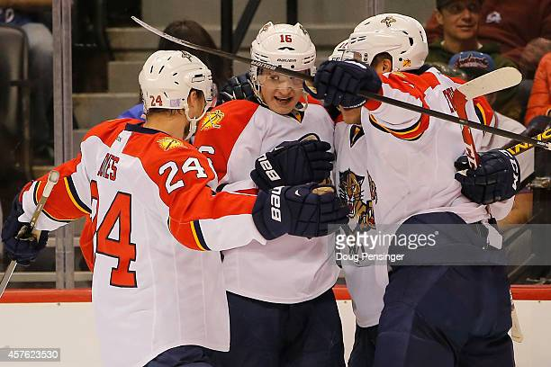Aleksander Barkov of the Florida Panthers celebrates his second period goal with his teammates as they take a 20 lead over the Colorado Avalanche in...