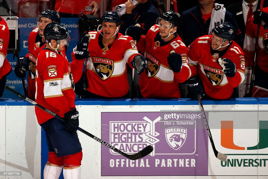 Aleksander Barkov #16 of the Florida Panthers celebrates his shoot out goal with teammates against the Dallas Stars at the BB&T Center on November 14, 2017 in Sunrise, Florida.