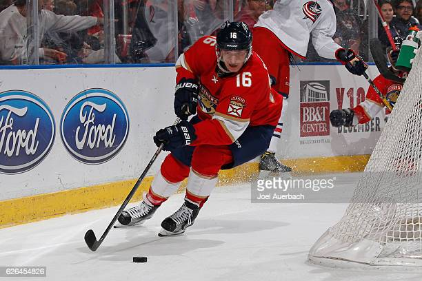 Aleksander Barkov of the Florida Panthers circles the net with the puck against the Columbus Blue Jackets at the BBT Center on November 26 2016 in...