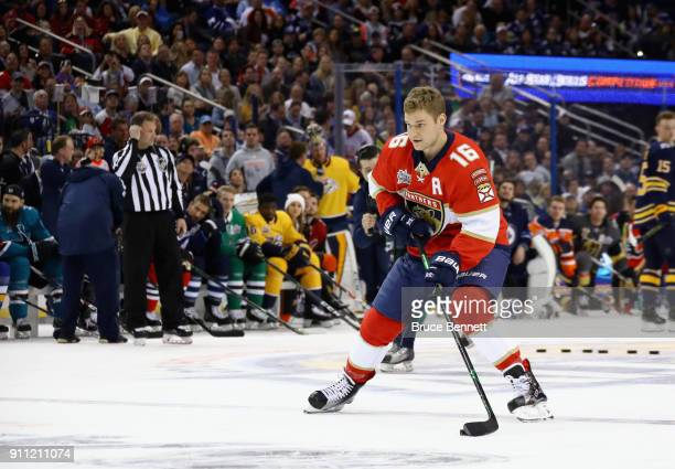 Aleksander Barkov of the Florida Panthers competes in the GEICO NHL Save Streak during the 2018 GEICO NHL AllStar Skills Competition at Amalie Arena...
