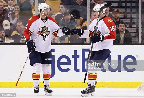 Aleksander Barkov of the Florida Panthers congratulates Jonathan Huberdeau after he scored against the Boston Bruins during the third period at TD...