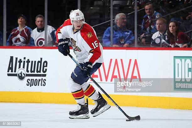 Aleksander Barkov of the Florida Panthers controls the ball against the Colorado Avalanche at Pepsi Center on March 3 2016 in Denver Colorado The...