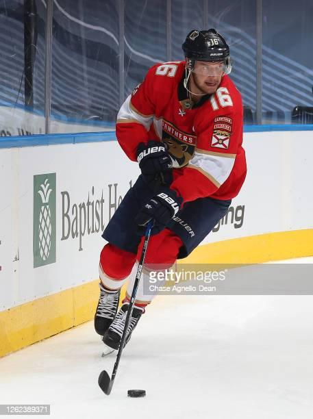Aleksander Barkov of the Florida Panthers controls the puck in the second period of an exhibition game prior to the 2020 NHL Stanley Cup Playoffs at...