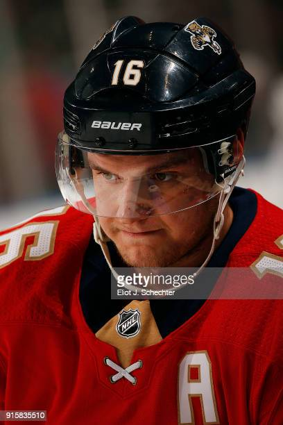 Aleksander Barkov of the Florida Panthers cools off on the ice prior to the start of the game against the Vancouver Canucks at the BBT Center on...