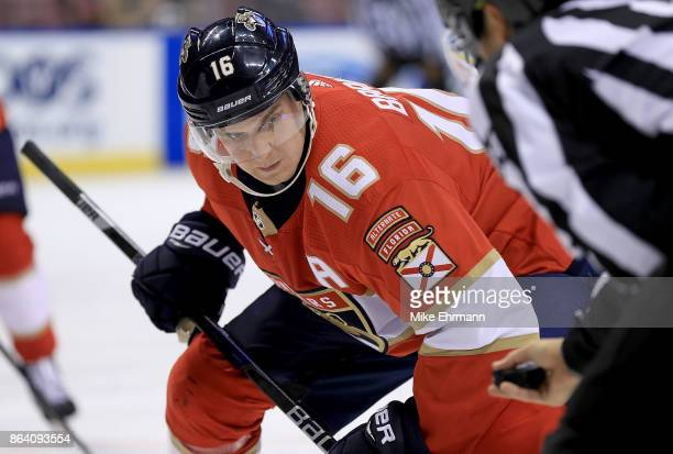 Aleksander Barkov of the Florida Panthers faces off during a game against the Pittsburgh Penguins at BBT Center on October 20 2017 in Sunrise Florida