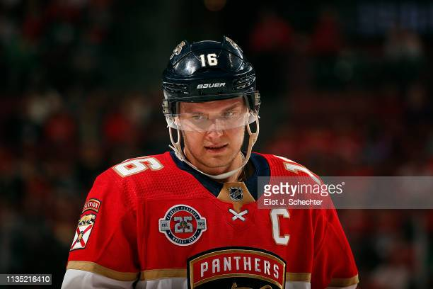 Aleksander Barkov of the Florida Panthers get set for a face off against the Detroit Red Wings at the BBT Center on March 10 2019 in Sunrise Florida