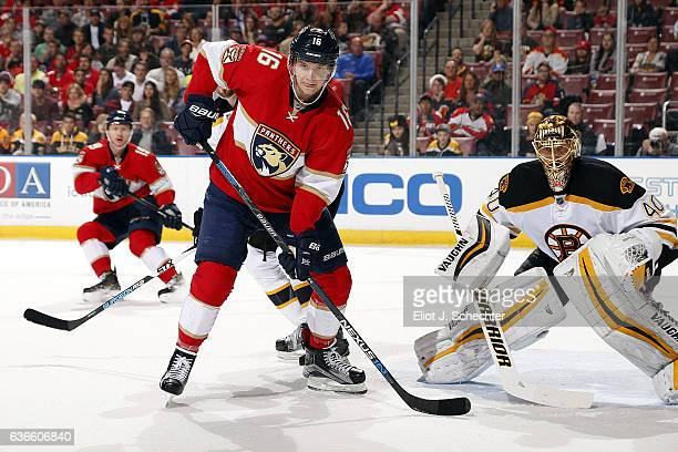 Aleksander Barkov of the Florida Panthers gets into position while Goaltender Tuukka Rask of the Boston Bruins defends the net at the BBT Center on...