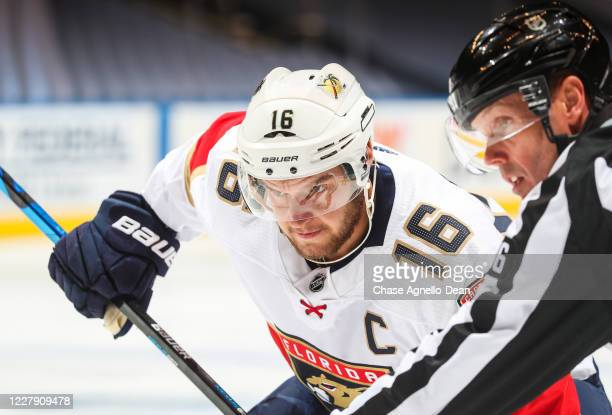 Aleksander Barkov of the Florida Panthers gets ready for a face-off against the New York Islanders during the first period in Game Two of the Eastern...
