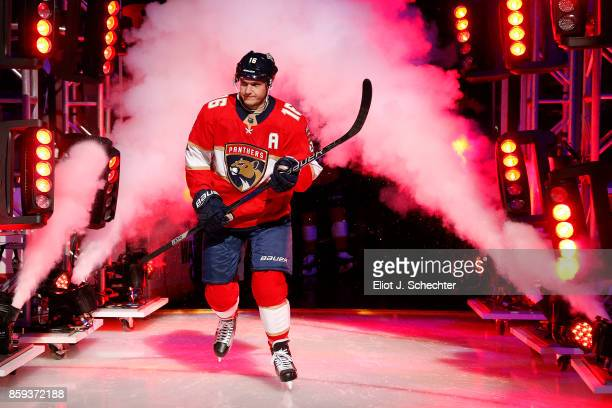 Aleksander Barkov of the Florida Panthers heads out to the ice during opening festivities prior to the start of the game against the Tampa Bay...