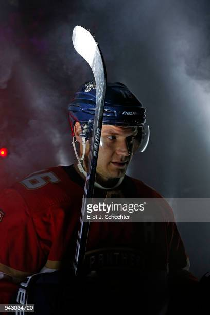 Aleksander Barkov of the Florida Panthers heads out to the ice for introductions prior to the start of the game against the Boston Bruins at the BBT...