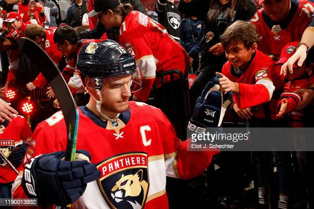 Aleksander Barkov of the Florida Panthers heads out to the ice with teammates for warm-ups prior to the start of the game against the Buffalo Sabres...