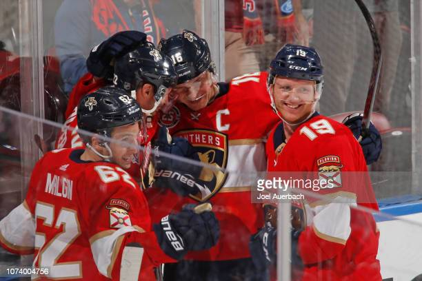 Aleksander Barkov of the Florida Panthers is congratulated after scoring a third period goal against the Toronto Maple Leafs at the BBT Center on...