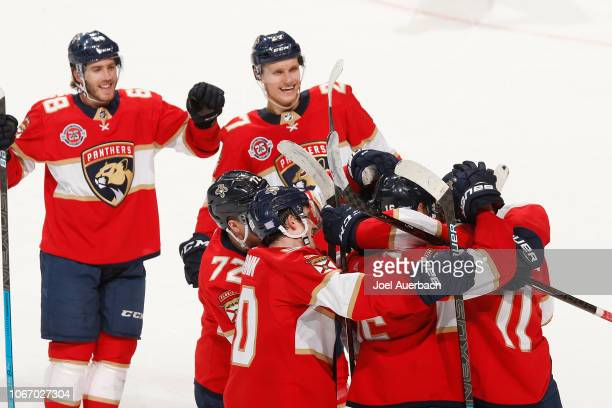 Aleksander Barkov of the Florida Panthers is congratulated by teammates after scoring the game winning goal in overtime against the Buffalo Sabres at...