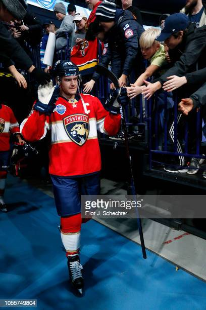 Aleksander Barkov of the Florida Panthers is greeted by fans while heading out to the ice for practice in preparation for the 2018 NHL Global Series...