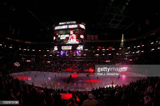 Aleksander Barkov of the Florida Panthers is introduced prior to the start of the game against the Tampa Bay Lightning in Game Two of the First Round...