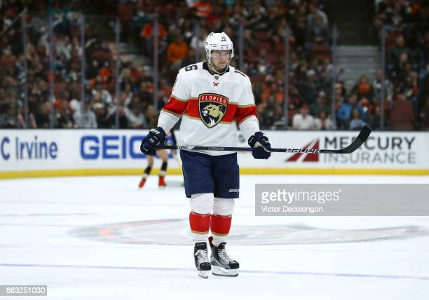 Aleksander Barkov of the Florida Panthers looks on during the NHL game at Honda Center on November 19 2017 in Anaheim California The Ducks defeated...