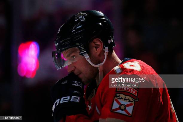 Aleksander Barkov of the Florida Panthers on the ice during introductions prior to the start of the game against the Boston Bruins at the BBT Center...