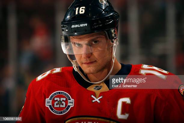 Aleksander Barkov of the Florida Panthers on the ice during warm ups prior to the start of the game against the Edmonton Oilers at the BBT Center on...