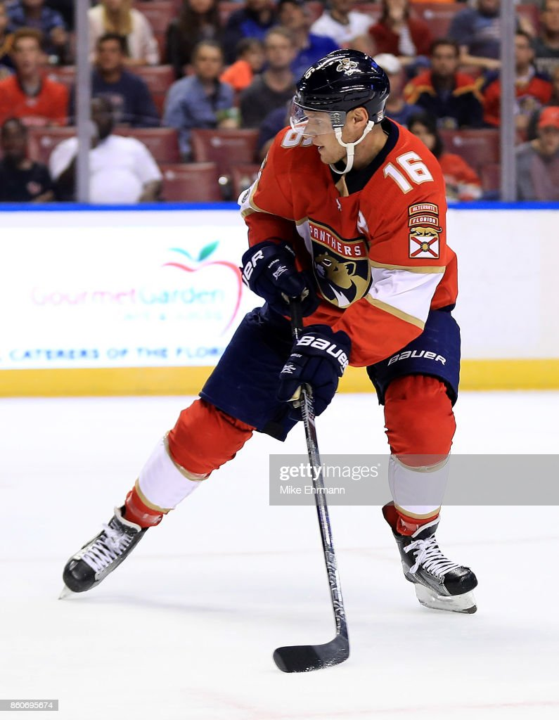 Aleksander Barkov #16 of the Florida Panthers passes during a game against the St. Louis Blues at BB&T Center on October 12, 2017 in Sunrise, Florida.