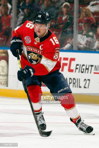 Aleksander Barkov of the Florida Panthers passes the puck against the Minnesota Wild at the BBT Center on March 8 2019 in Sunrise Florida