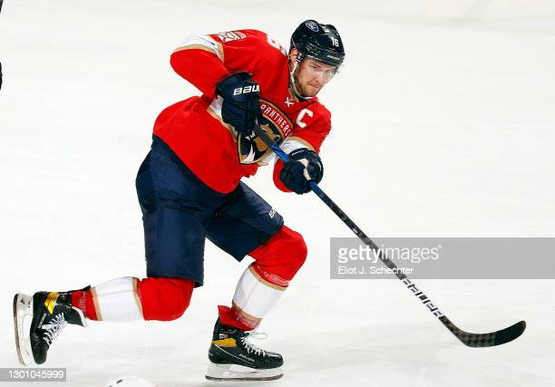 Aleksander Barkov of the Florida Panthers passes the puck against the Detroit Red Wings at the BB&T Center on February 7, 2021 in Sunrise, Florida.