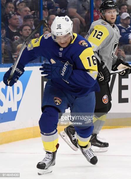 Aleksander Barkov of the Florida Panthers plays in the 2018 Honda NHL AllStar Game between the Atlantic Division and the Metropolitan Divison at...