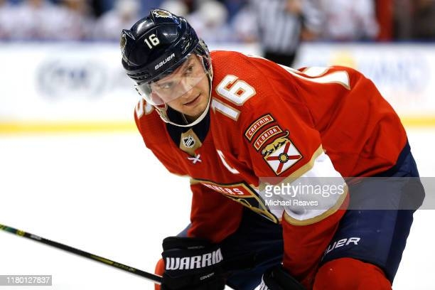 Aleksander Barkov of the Florida Panthers prepares for a face-off against the Carolina Hurricanes during the third period at BB&T Center on October...