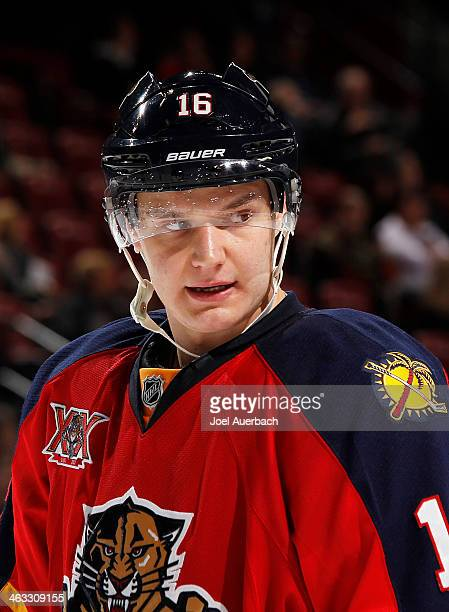 Aleksander Barkov of the Florida Panthers prepares for a faceoff against the San Jose Sharks at the BBT Center on January 16 2014 in Sunrise Florida...