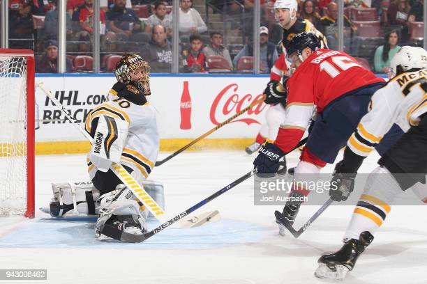 Aleksander Barkov of the Florida Panthers scores a goal against the Boston Bruins during first period action at the BBT Center on April 5 2018 in...