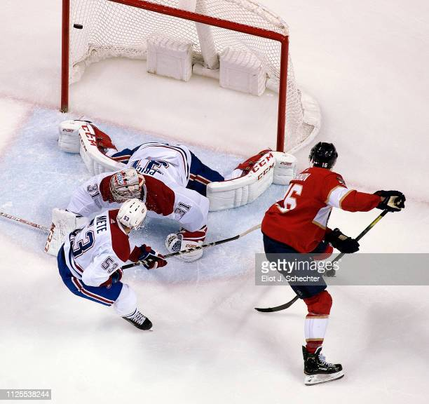 Aleksander Barkov of the Florida Panthers scores against Goaltender Carey Price of the Montreal Canadiens in the second period at the BBT Center on...
